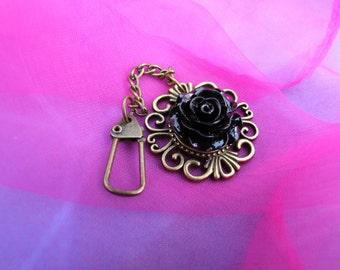 Vintage Filigree Antique Bronze Black Rose Keychain - Purse/Bag charm