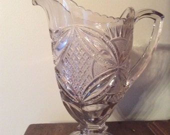 Antique EAPG US glass Pattee Cross pattern pitcher water jug Early American pressed glass water jug