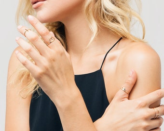 Dainty Rings, Half Circle Rings, Stacking Rings, in 14kt Gold Filled, Sterling Silver, Delicate Gold Rings  [RISEN]