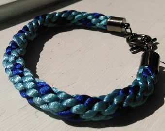 Baby and Royal Blue 'Mermaid' Kumihimo Bracelet with Gun Metal Grey Closure