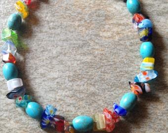 Lampwork Beaded Bracelet, Lampwork Turquoise bead bracelet