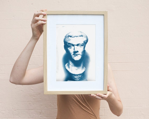 Caligula Roman Sculpture, Cyanoptype Print on Watercolor Paper, A4 size