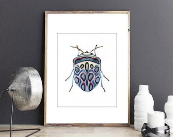 Beetle watercolor art prints, nature painting art, beetle illustration, bugs watercolor painting, insect art print, printable bug, bug art 1