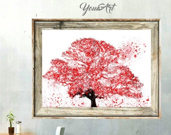 Blossom Tree Watercolor Print Art Painting Splash Beautiful Cherry Tree Illustration, Gift WC027