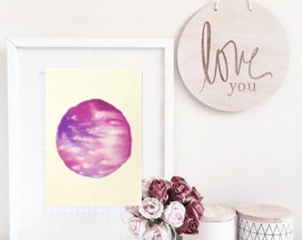 Abstract watercolour painting, Watercolour planet, watercolor circle, ORIGINAL watercolour painting, simple art, simple watercolour painting