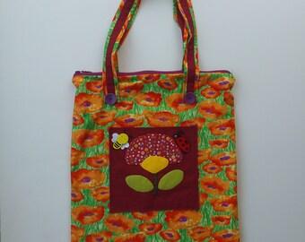 Corn Poppy Handbag with Three Pockets and Dark Red Inner Lining