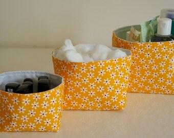 Fabric Storage Box Set - Yellow with White Daisy