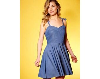 Blue Summer Minimalist Dress, Short Summer Dress, Strappy Dress, Oversize Dress, Holiday Dress, Petite Dress, Sun Dress, Open Back Dress