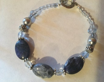 Three blue stone and clear bead bracelet