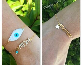 Gold Bracelets, Mama Bracelet, Mama Charm, Mom Bracelet, Evil Eye Bracelet, Gold Evil Eye Bracelet, Mother's Day Gift Bracelet.