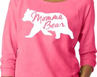Momma Bear Ladies Off the Shoulder Terry Raglan