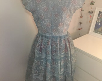 SALE Sheer blue vintage 1950s evening gown