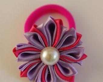 Pink and Purple Flower Hair Tie. Flower Elastic. Kanzashi Flower.