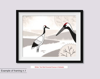 Winter. Two Red Crowned Cranes in Hokkaido.