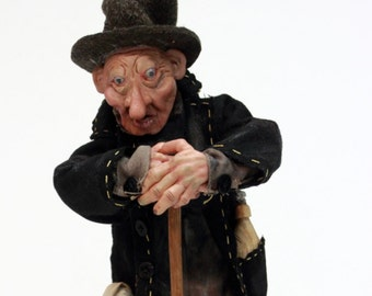 ooak doll GRAVEDIGGER, collecting doll, handmade art doll, sculpted polymer clay, for collectors
