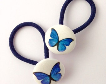 Blue Butterfly Hair Elastics, Butterfly Hair bobbles, set of two