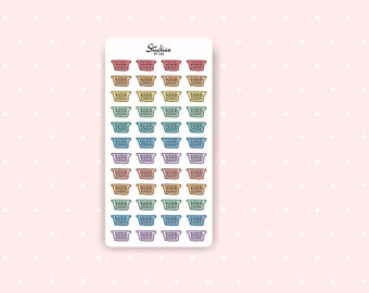 Laundry Basket Stickers / Planner Stickers / Mini Stickers / Rainbow Stickers | D9