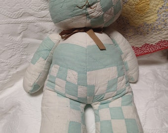 Quilted Bunny. Nursery Decor. Vintage Quilt. Rabbit. Primitive. Patchwork. Repurposed. Salvaged. Handmade. One-of-a-kind. Stuffed Animal