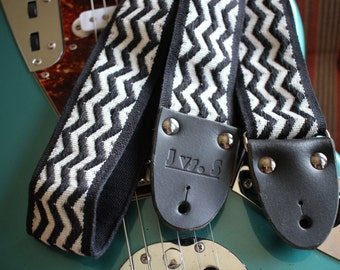 Cotton guitar strap, black white zig zag trim,  2 inch (51mm), leather, electric guitar, acoustic guitar,  Infinitely Late at Night