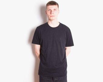 Vintage 80s, Designer, Hugo Boss, Black, Crewneck, Minimal, Cotton T-Shirt // Size L