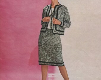 Womens Suit PDF Knitting Pattern : Ladies 34, 36, 38 and 40 inch bust . Skirt and Jacket . Instant Digital Download