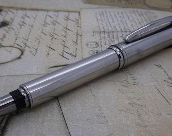 Fountain Pen - Stainless Steel with Titanium Trim - Blackstone Maxim