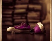 Vintage Style Photo Print/ Purple Converse Sneakers/ Violet/ Purple/ Square Fine Art Print/ Vintage Tones/ Still LIfe Photo/ Wall Art
