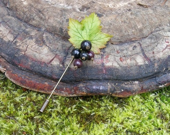 Blackberry/ Blackcurrant Brooch/ Buttonhole/ Boutonniere Stick Pin made from Japanese air-dry polymer clay.