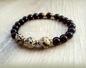 Men Onyx bracelet stretch Jasper bracelet Hipster gift for Teen Energy bracelet Capricorn Leo Birthday gift Leo bracelet Unisex bracelet