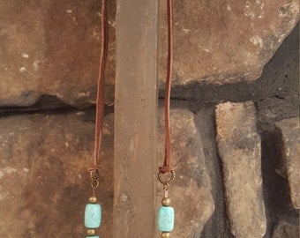 25% off Turquoise and leather necklace