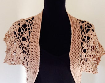 Bolero shrug - beige/magenta crochet cotton