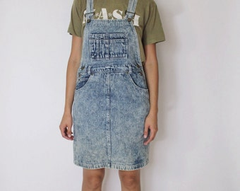 Vintage 1980s Overall Dress | Acid Wash Dress | Denim Overall Dress | S