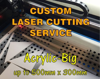 Custom Laser Cutting Service. Acrylic Sheet - Big parts up to 500x300mm. Various Thickness and Colour.