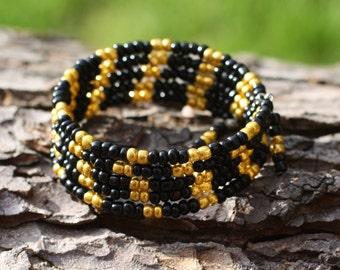Ladies Bracelet, Wrap Bracelet, Five times Wrap, Memory Wire Bangle, Jewellery, Bracelet, Beaded Memory Wire, Jewellery