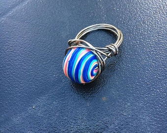 Spiral colored clay wired wrap ring