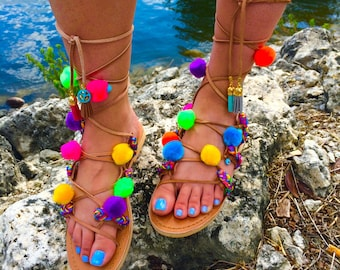 Pom pom sandals, pom pom shoes, leather sandals, greek sandals, greek leather sandals, gladiator sandals, lace up sandals, colorful sandals
