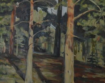 Original, Oil on Canvas, Forest Landscape Painting 18x24 in
