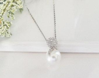 Pearl Wedding Necklace Pearl Bridal Necklace Pearl Earrings Sterling Silver Necklace  Pearl Bridal Necklace Pearl CZ Necklace