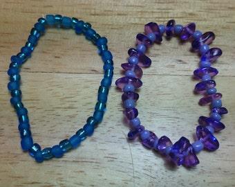 Purple and blue bracelet set