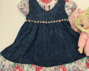 Toddler denim dress, girls dress size 2, holiday dress, girls flower dress, toddler birthday, toddler vintage dress