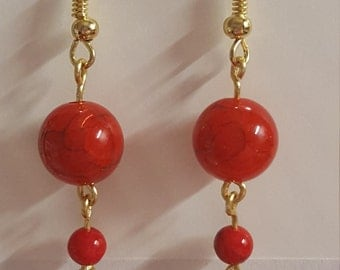 Red/Gold tone Earrings