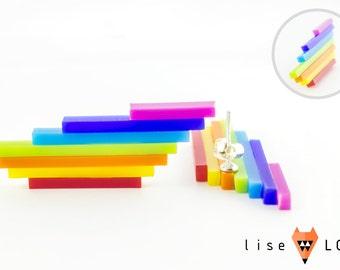 Laser Cut Plexiglass Rainbow Stud Earrings