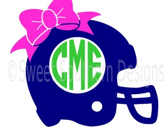Football helmet monogram with bow SVG instant download design for cricut or silhouette