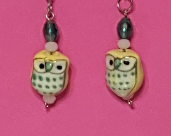 Adorable yellow and green woodland owl earrings