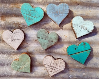 Heart Magnets - Nursery Room - Baby Girl - Baby Boy - Rustic Sign - Family Sign - Heart Sign - Love Sign - Wedding Favors - Reclaimed Wood