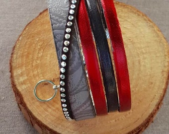 Red, gray and black cuff leather bracelet