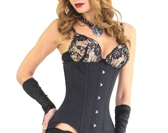 Long Corset Cotton Steel Boned Underbust Waist Training Long Torso Size XXXS-6XL