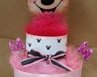 diaper cake diaper cake minnie themed mylar balloon
