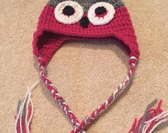 Crochet Owl Hat Children - Adult sizes