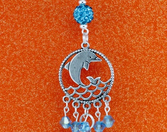 Adorable Dolphin Interchangeable Silver Lanyard Badge Holder Necklace